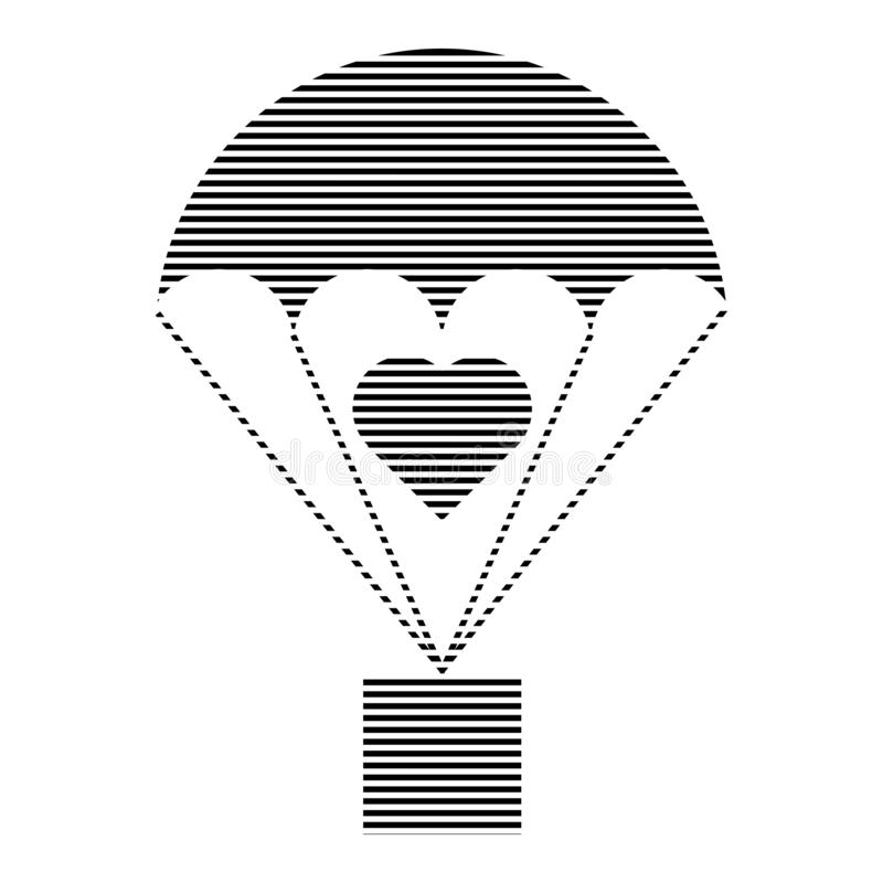 Parachute cargo hatched icon with heart sign. Thin lines stock illustration
