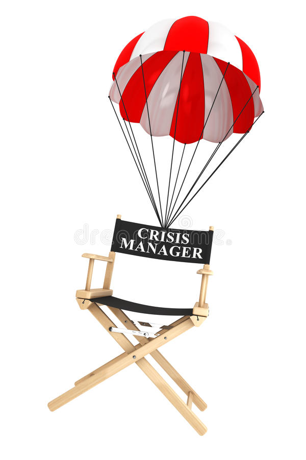 Parachute with Crisis Manager Chair royalty free stock photography
