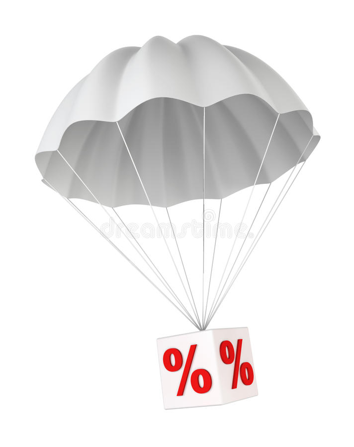 Parachute with a discount sign. 3d illustration on white background stock illustration