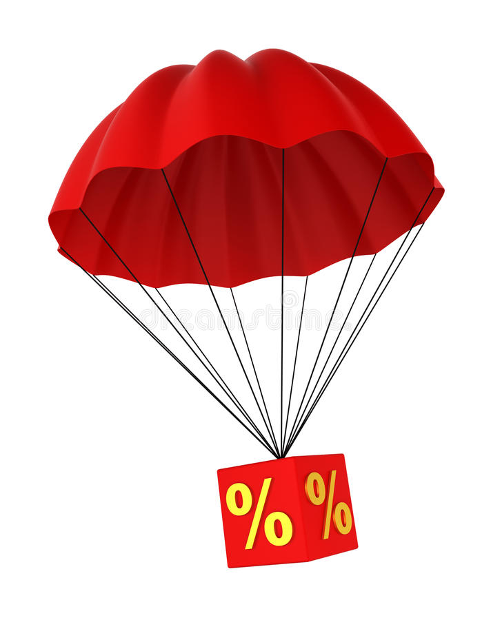 Parachute with a discount sign. 3d illustration on white background vector illustration