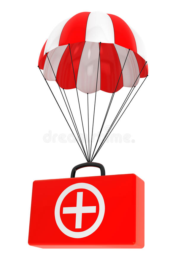 Parachute with First Aid Case on a white royalty free illustration