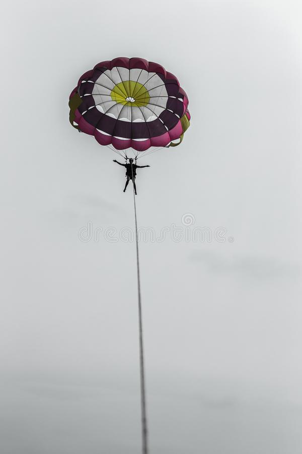 Parachute Gliding Sailing Rope royalty free stock photography