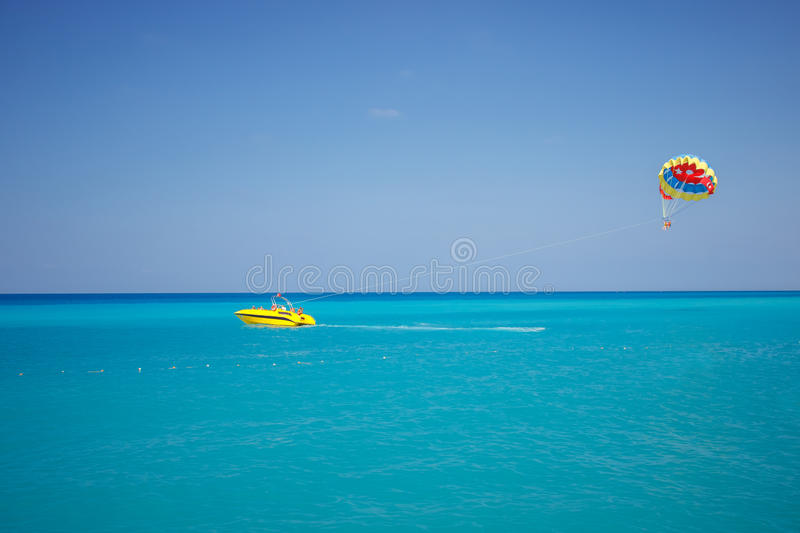 Parachute on the high seas royalty free stock image