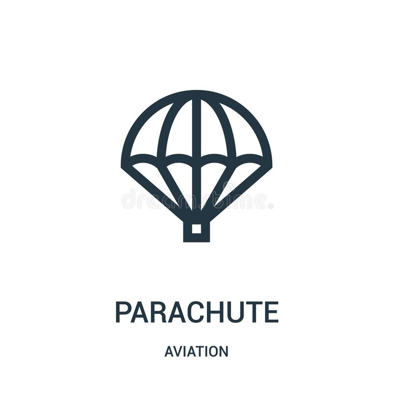 Parachute icon vector from aviation collection. Thin line parachute outline icon vector illustration. Linear symbol for use on web. And mobile apps, logo, print stock illustration