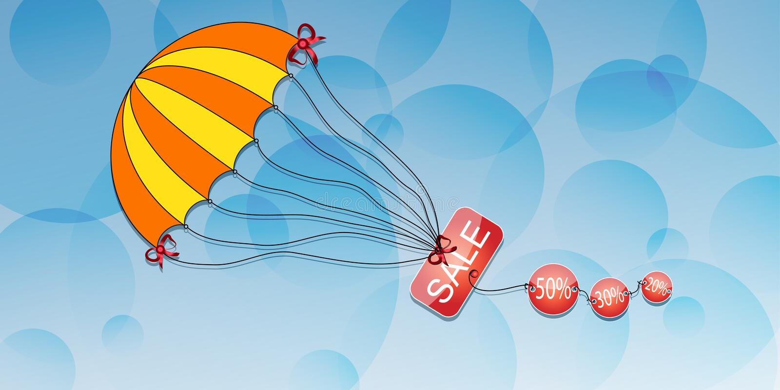 Parachute with the inscription discount on an abstract background.Vector. Art royalty free illustration