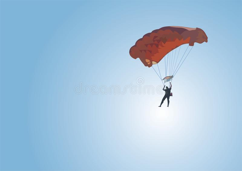 Download Parachute jump stock vector. Image of parachutist, wind - 10017860