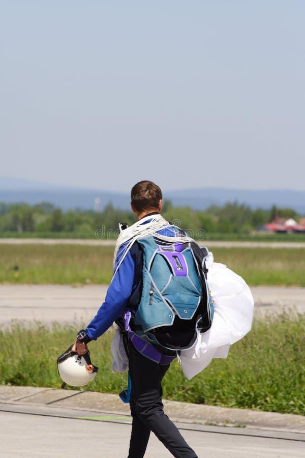 Parachute jumper stock image