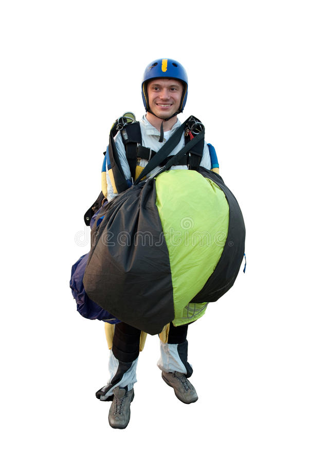 Parachute Jumper Isolated On White Royalty Free Stock Image