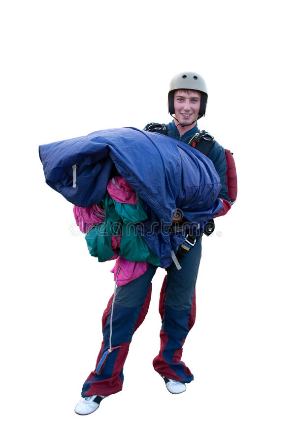 Parachute jumper isolated on white stock images