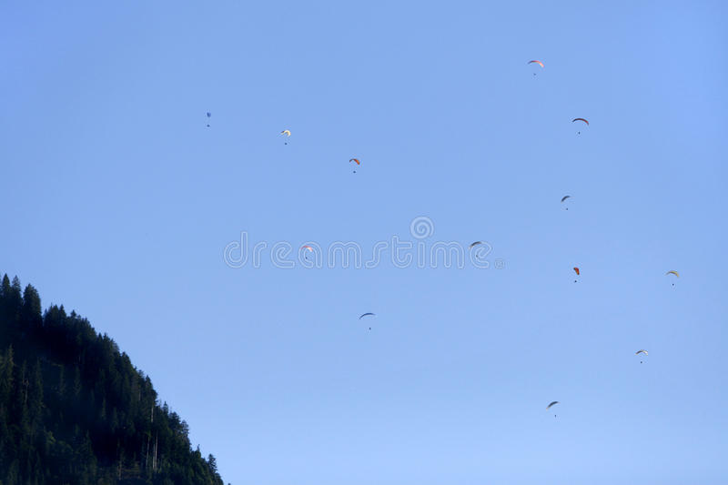 Parachute jumpers royalty free stock images