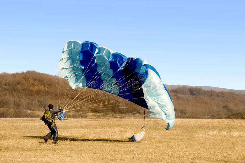 Parachute landed stock image