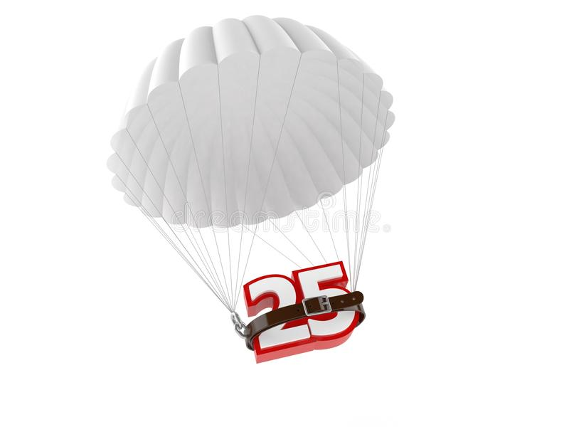 Parachute with 25 number. Isolated on white background vector illustration
