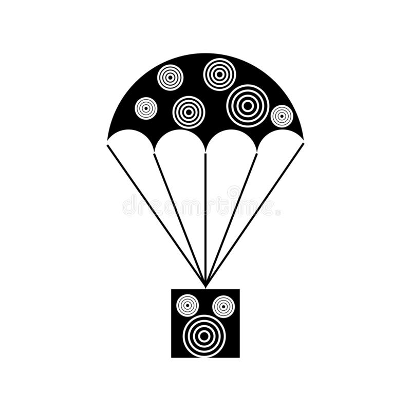 Parachute with a pattern parcel sign. Thin lines vector illustration