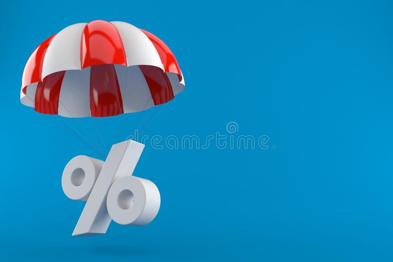 Parachute with percent symbol. Isolated on blue background. 3d illustration royalty free illustration