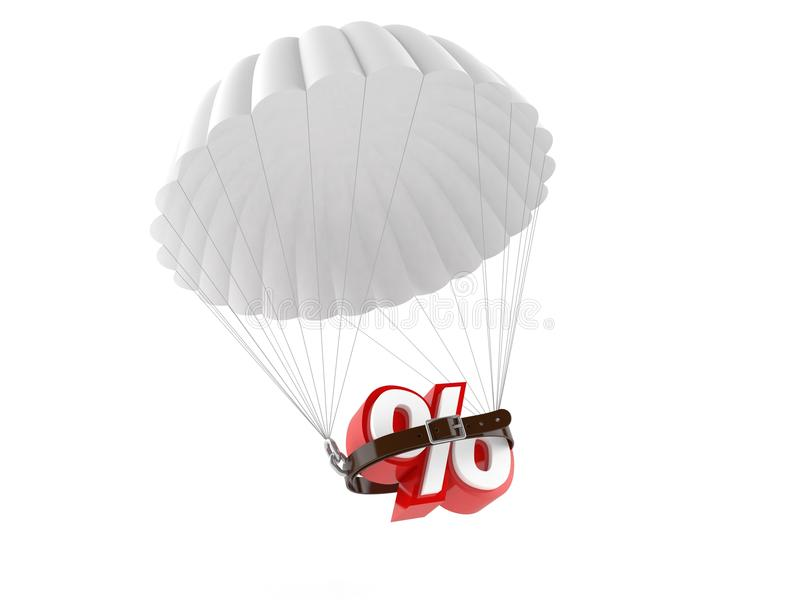 Parachute with percent symbol. Isolated on white background royalty free illustration