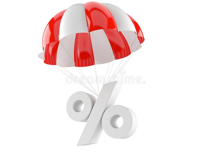 Parachute with percent symbol. Isolated on white background stock illustration