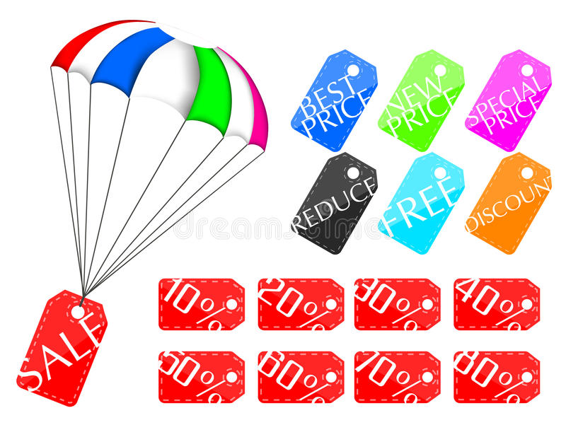 Parachute price tag. Set illustration royalty free illustration