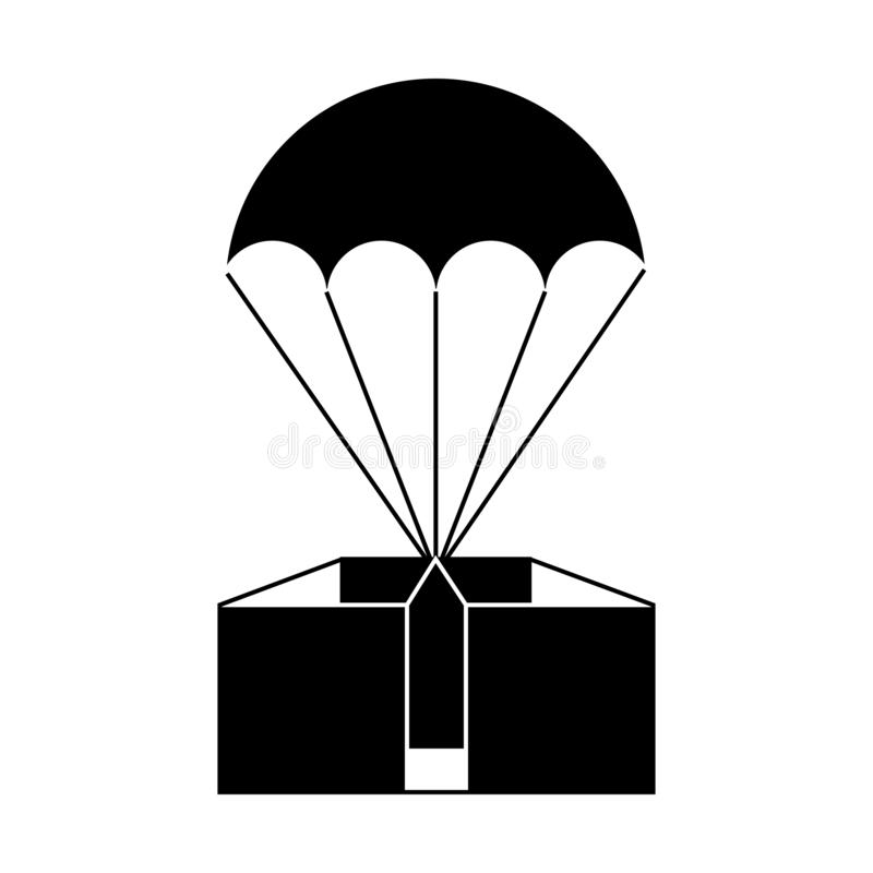Parachute for transportation. Balloon for two sign. Thin line royalty free illustration