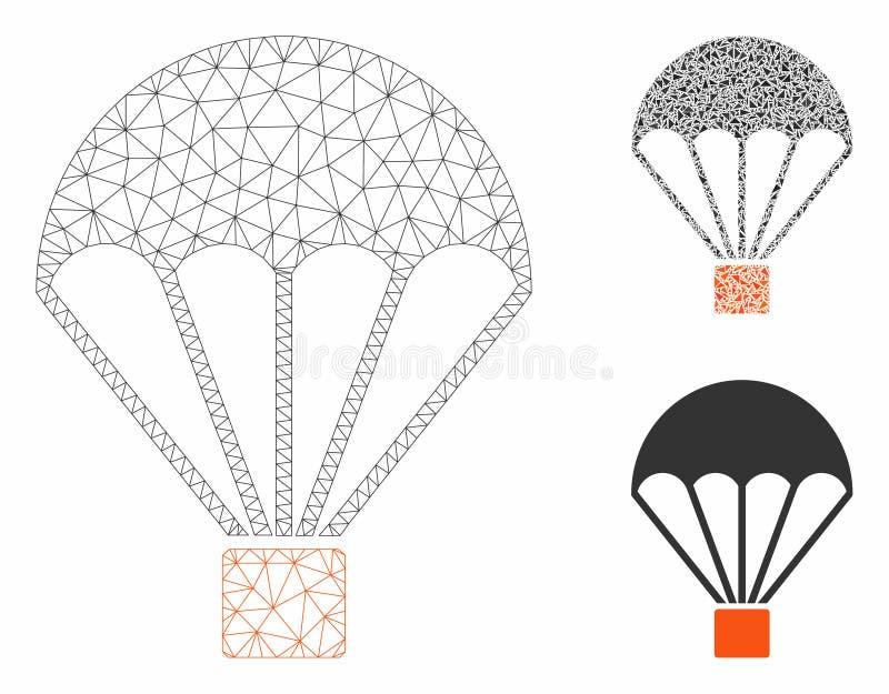Parachute Vector Mesh Carcass Model and Triangle Mosaic Icon. Mesh parachute model with triangle mosaic icon. Wire carcass polygonal mesh of parachute. Vector stock illustration