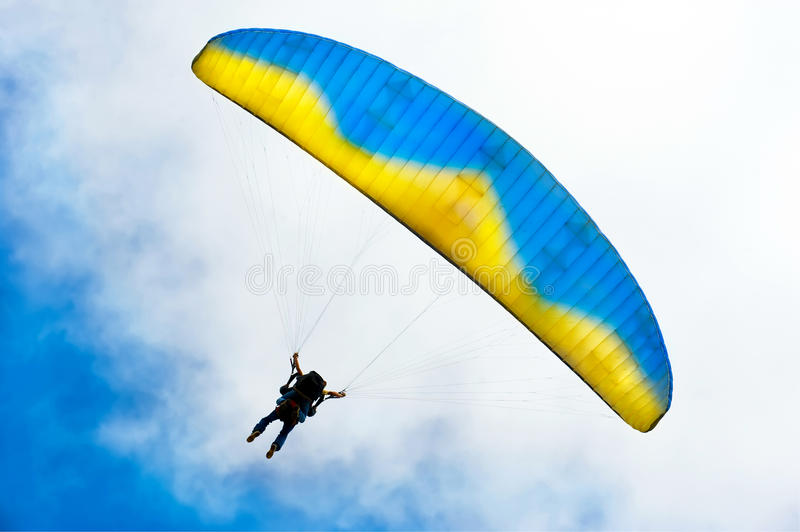 Download Parachuter Descending With Instructor Stock Image - Image: 21230625