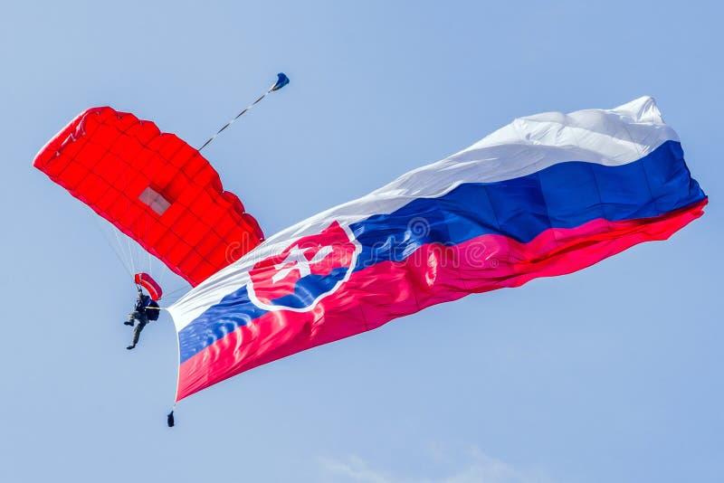 Parachuter mit Slovakflagge lizenzfreie stockbilder