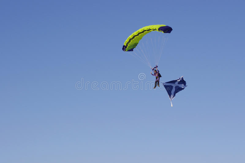 Parachuter with Scotland flag stock photography