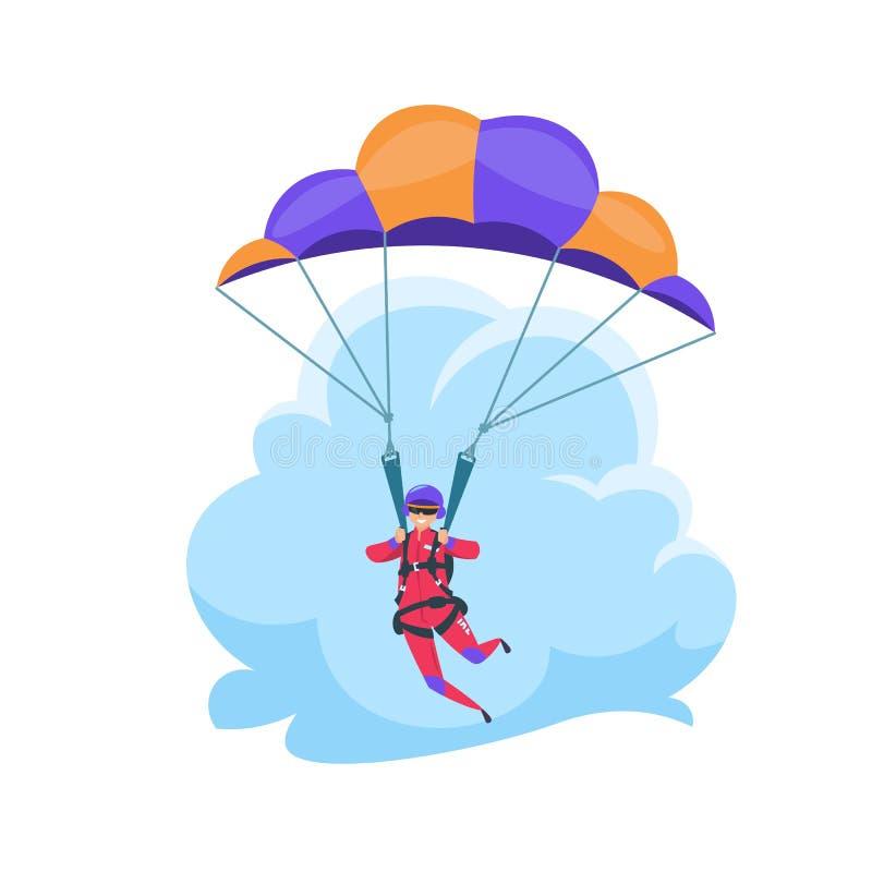 Parachuterend extreme sport, dalend vlak karakter dat op wit wordt geïsoleerd Vectorparachutist vector illustratie