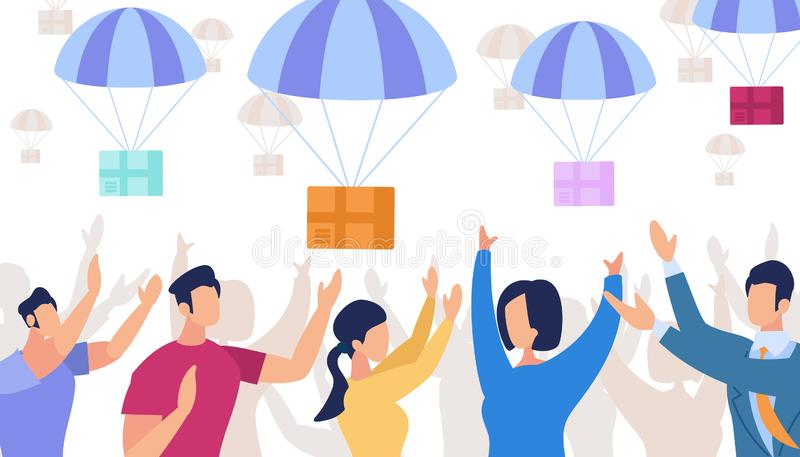 Parachutes avec des boîtes tombant du ciel delivery illustration stock