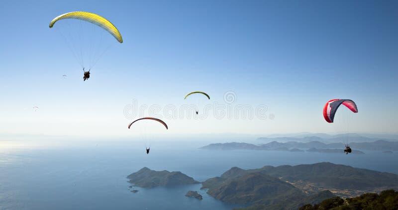 Parachuting. Photo Of Parachuting at Oludeniz at Fethiye stock photo