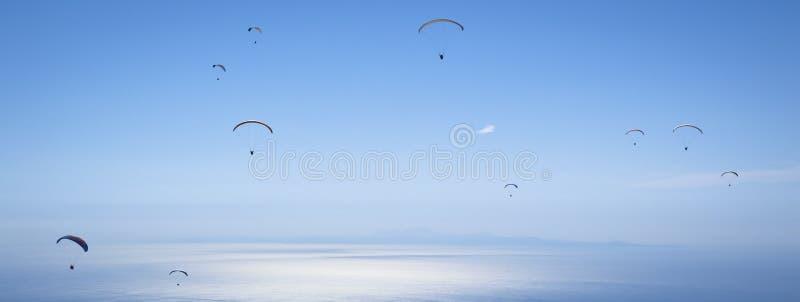 Parachuting. Photo Of Parachuting. Panoramic Photo stock photos