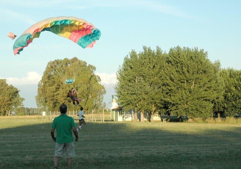 Parachuting 3. Two men doing parachuting on the sky stock photos