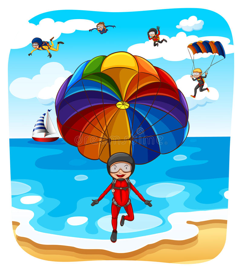 parachuting vector illustratie