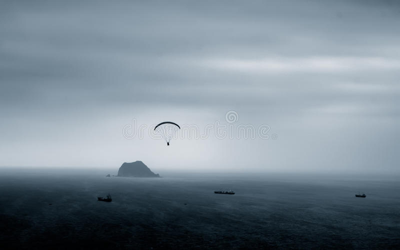 Parachuting. It is a kind of sport called parachuting over the sea stock photo