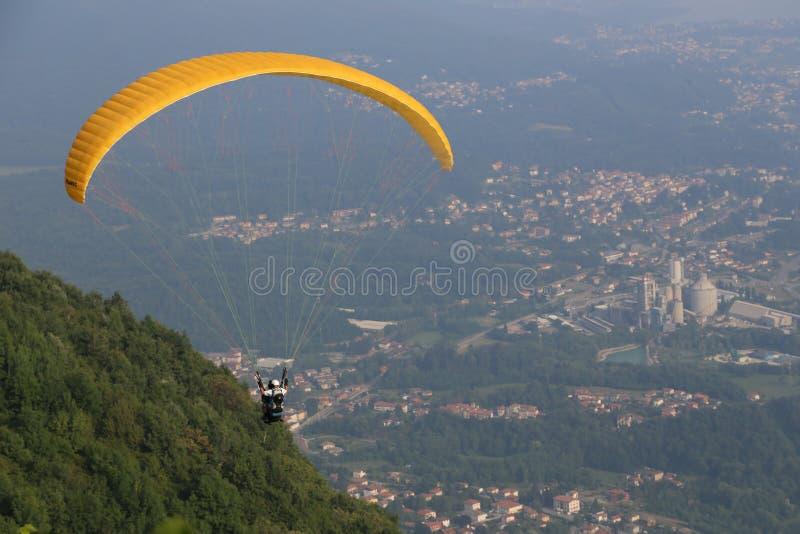Parachuting activity. During clear sky stock photos