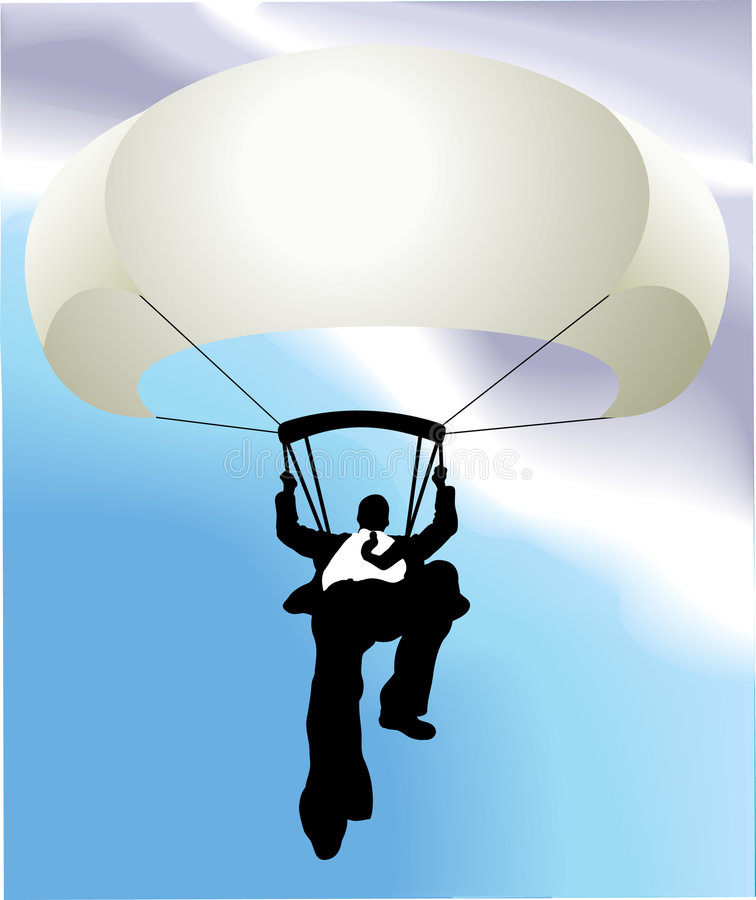 Parachuting business man. Conceptual piece. A falling business man saved by a parachute. Copyspace on chute to write whatever you like on it (perhaps a company royalty free illustration