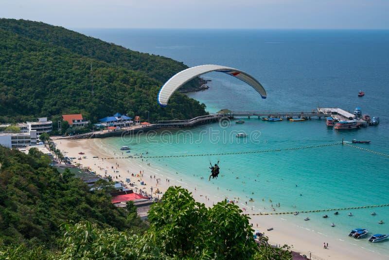 Parachuting. Koh Larn. Thailand. People do parachuting royalty free stock photo