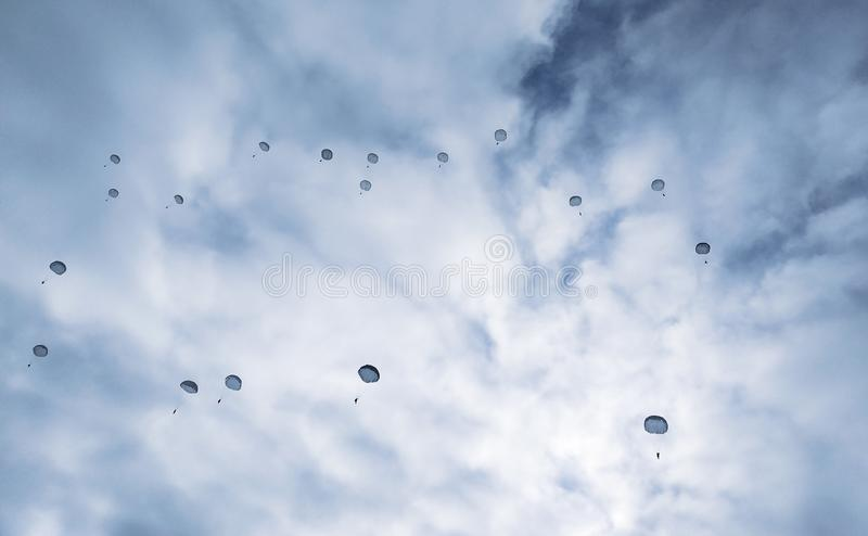 Parachuting, the mission of the military special. Forces stock photography
