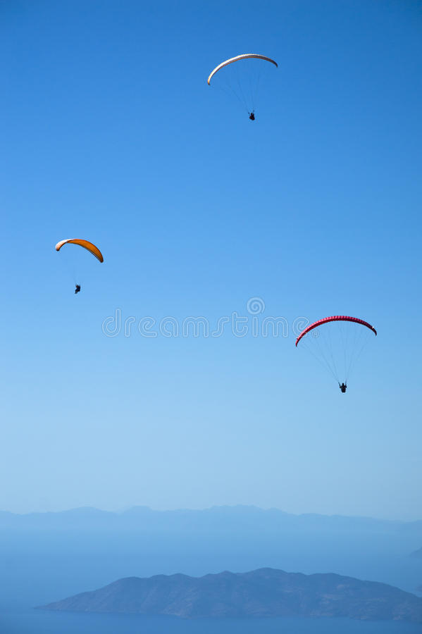 Parachuting. Vibrant color, horizontal image royalty free stock photos