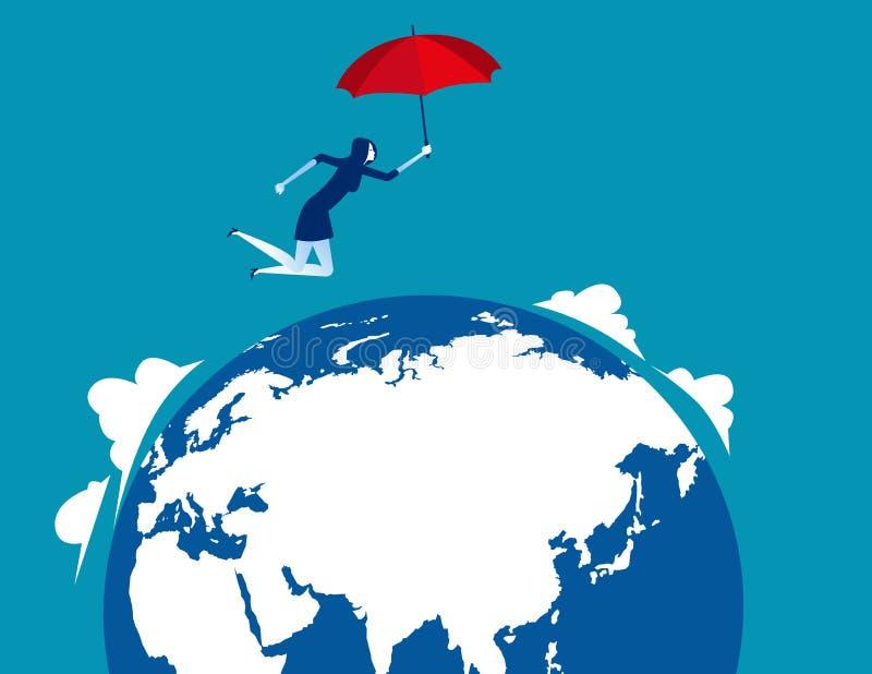 Parachutisme de femme d'affaires Illustration de vecteur d'affaires de concept illustration de vecteur