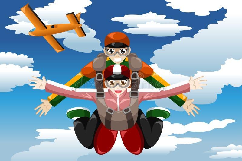 Parachutisme tandem illustration de vecteur