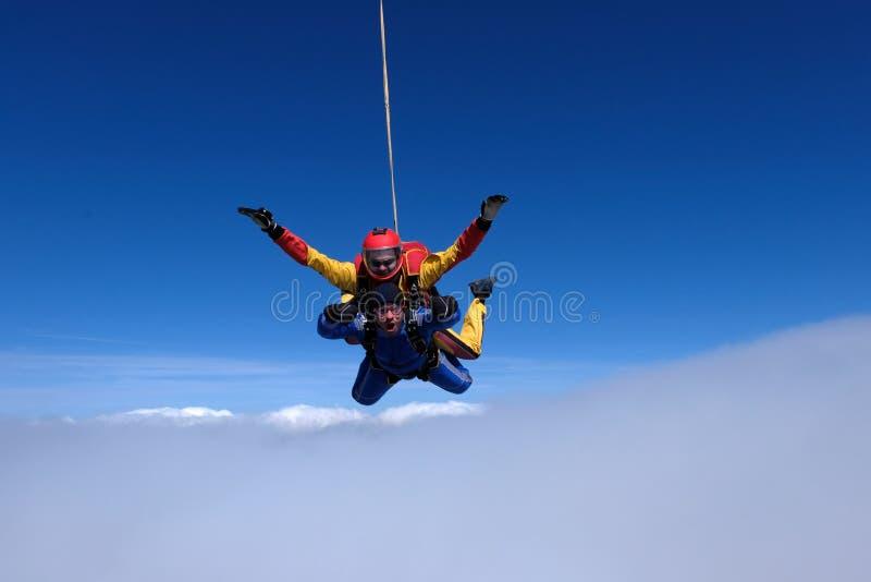 Parachutisme tandem Deux hommes forts sont dans le ciel photo libre de droits