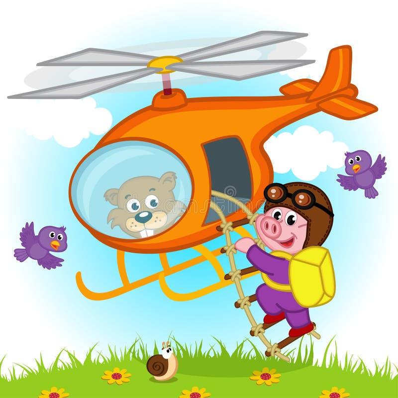Parachutist свиньи на вертолете иллюстрация штока