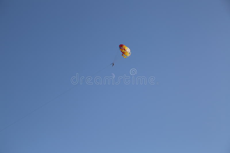 Parachutist in the blue sky royalty free stock photo