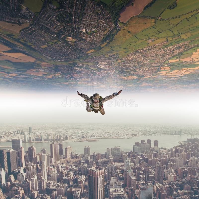 parachutist fall sky landscape royalty free stock image