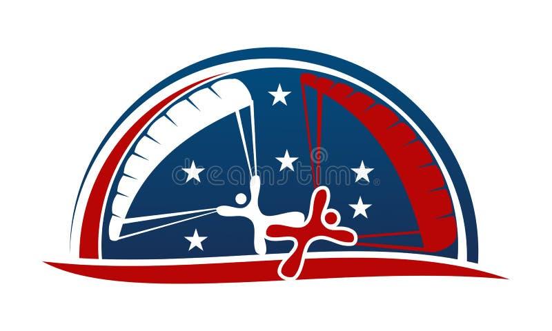 Parachutist Logo Design Template vector illustratie