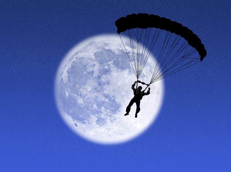 Parachutist na lua fotografia de stock royalty free