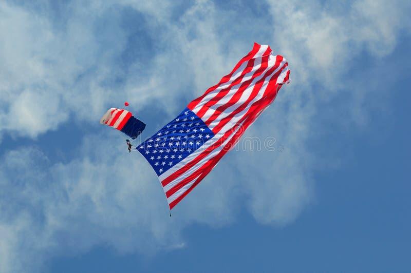 Parachutist patriótico fotos de stock