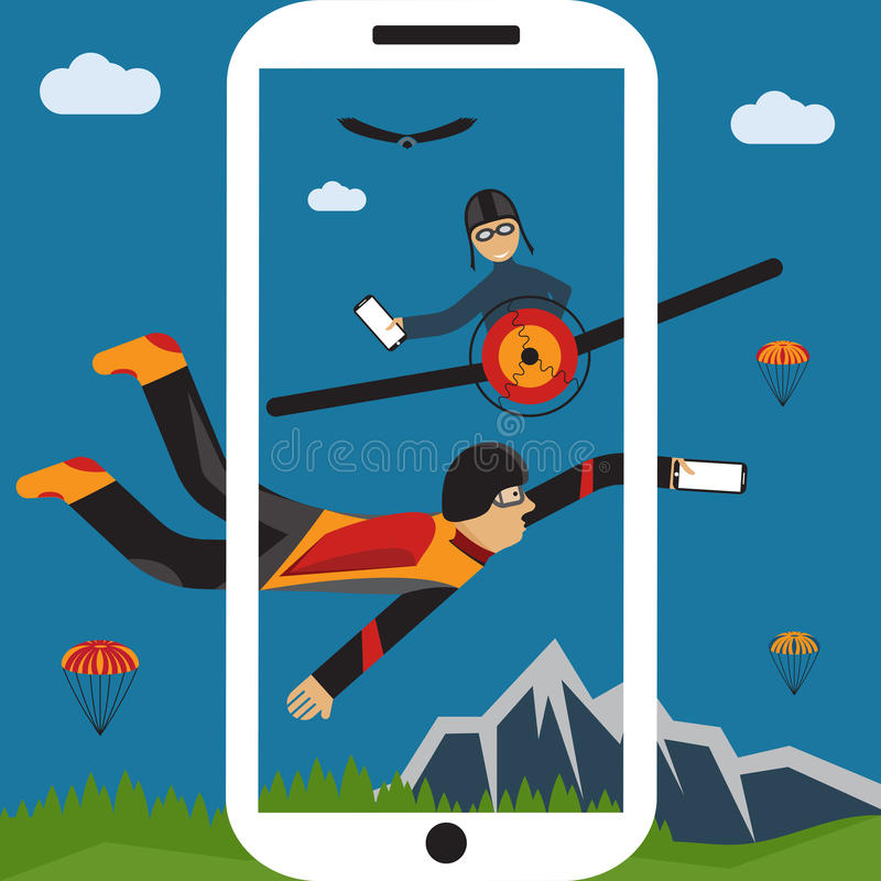parachutist selfie и пилотная плоская иллюстрация дизайна иллюстрация вектора