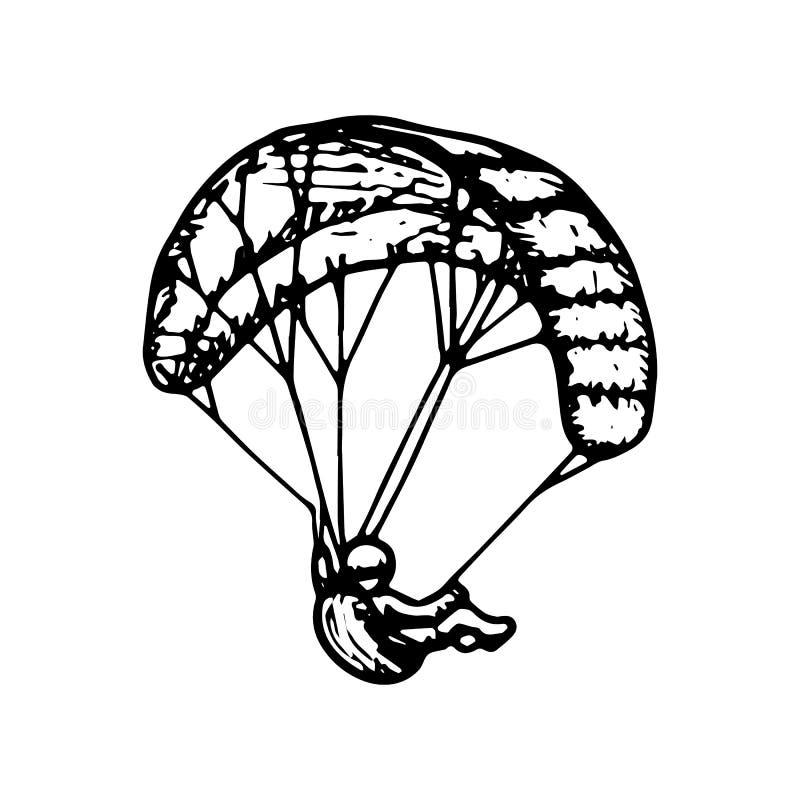 Parachutist, uiterste, het skydiving, sport, vliegconcept Hand getrokken parachutist op een het conceptenschets van het sportenva royalty-vrije illustratie