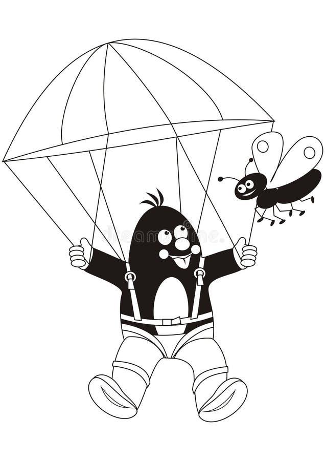 Parachutiste de taupe, livre de coloriage, icône de vecteur illustration de vecteur